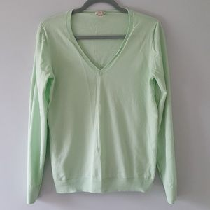J.Crew Cotton V Neck Sweater Large Green